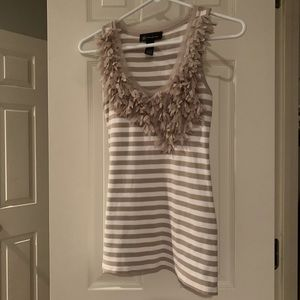 International Concepts Small Tan/White Stripe Tank